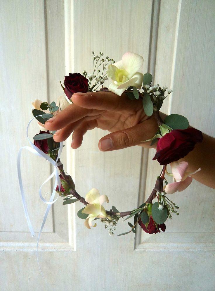 CBP162 Weddings Riviera Maya Burgundy light pink crown for flower girl / Corona para paje rojo vino y Rosa claro