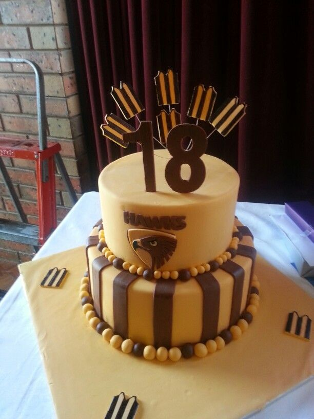 18th birthday hawthorne hawks aussie rules afl birthday cake idea.