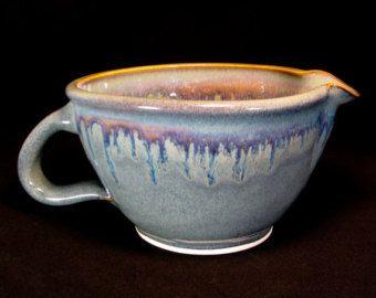 Handmade Stoneware Farmhouse Mixing Bowl. White Pottery Pour