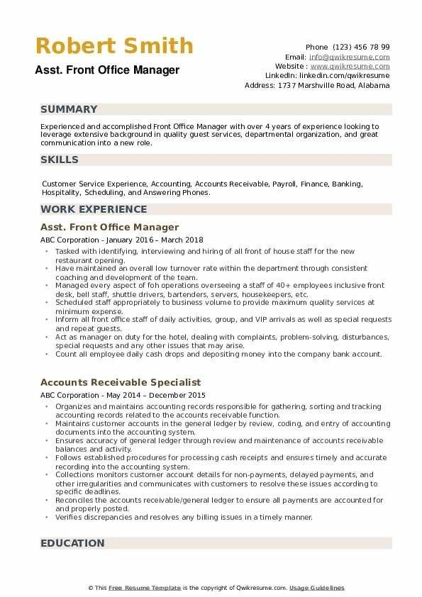 Front Office Manager Resume Samples Qwikresume In 2020 Office Manager Resume Manager Resume Medical Assistant Resume