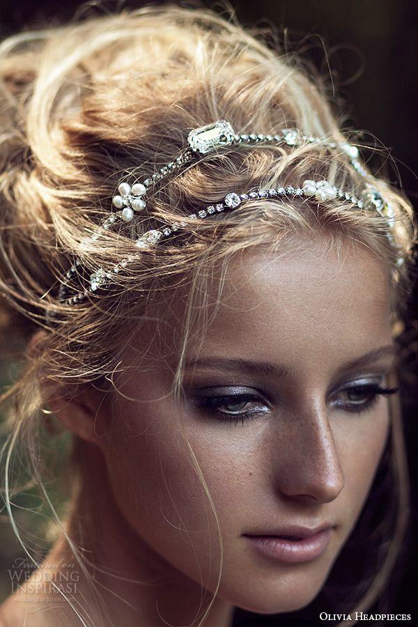 olivia headpieces 2015 wedding bridal double headband swarovski crystals ivory chain style white