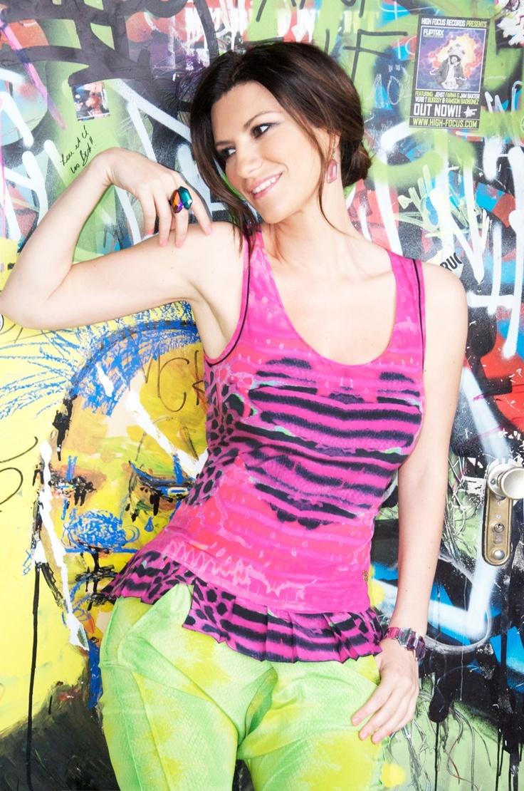 Laura Pausini looks beautiful in Roberto Cavalli and Just Cavalli SS 2012 in her latest video