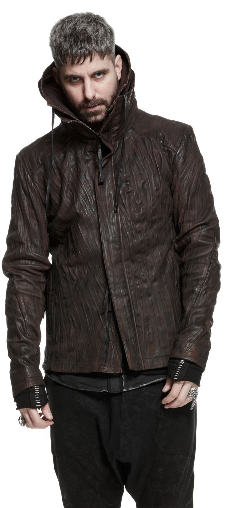 Object Hooded washed leather jacket unconventional