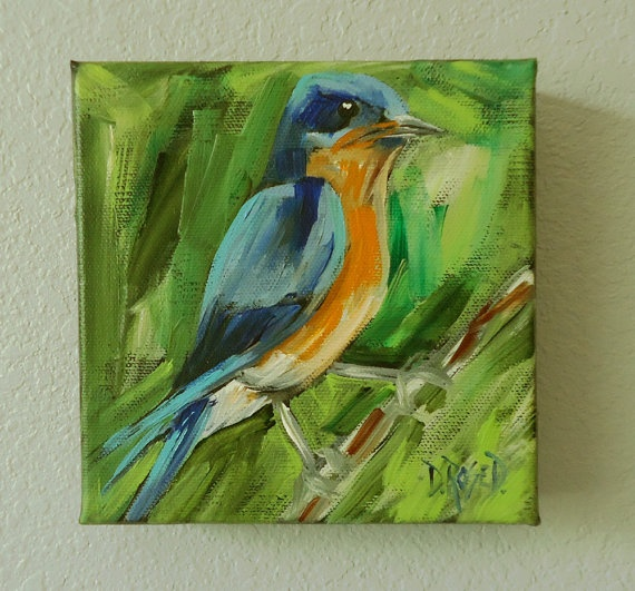 Small Blue Bird Original Paining by ArtByDonnaRose on Etsy, $40.00