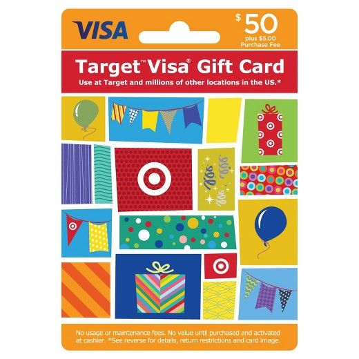 The Target Visa® Gift Card is an easy to use gift card. Safer than cash and more flexible than gift certificates, Target Visa Gift Cards are available in $25, $50 and $100 denominations (see * exceptions below). Enjoy using your Target Visa Gift Cards at millions of locations nationwide where Visa debit cards are accepted.<br><br>Card cannot be purchased with a Target GiftCard.<br>Limit on number of cards purchased.<br>To return card, package must be unopened....
