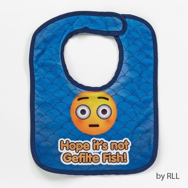 "EMOJI BIB, ""HOPE IT'S NOT GEFILTE FISH"", COTTON/POLY, 12"", CARDED"