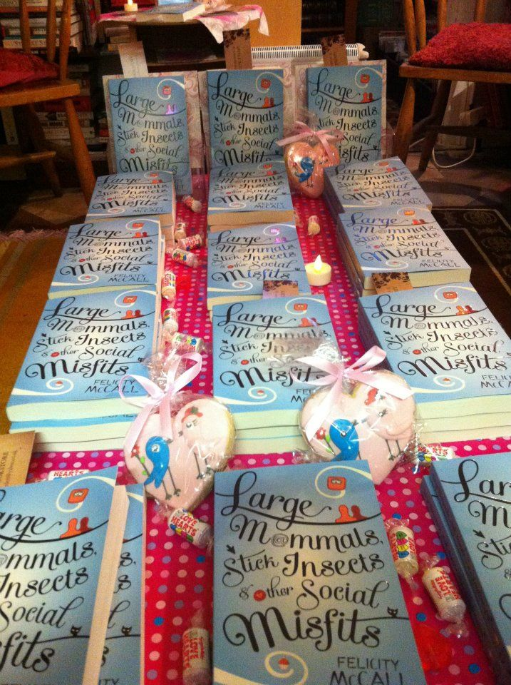 Felicity McCall's books all pretty in pink at her launch in Little Acorns Bookstore