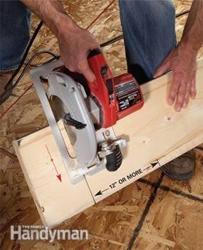 Framing carpenters' trick for cutting w/o horses...