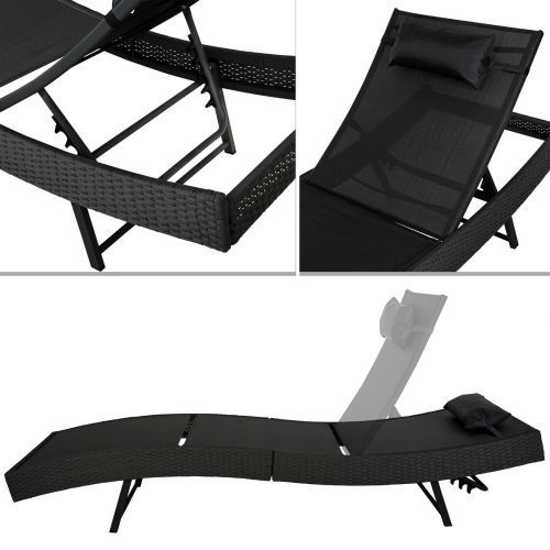 Rattan Sun Lounger Black Garden Day Bed Reclining Patio Furniture Wicker Chair #Unbranded
