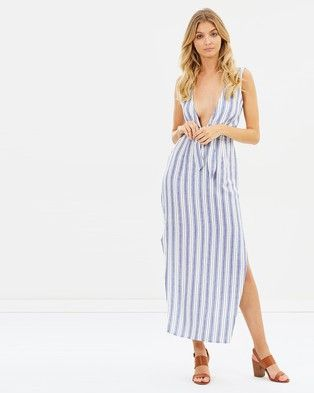 Atmos & Here y Tie Front Maxi Dress Washed Stripe