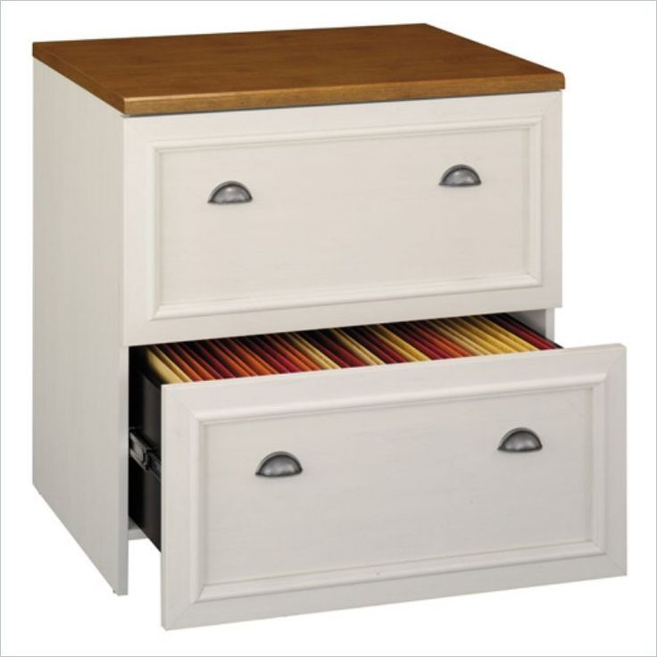Bush Fairview Lateral File 30 34 H X 29 58 W 20 78 D Antique White An Elegant Functional Cabinet With Homespun Flavor At Office Depot