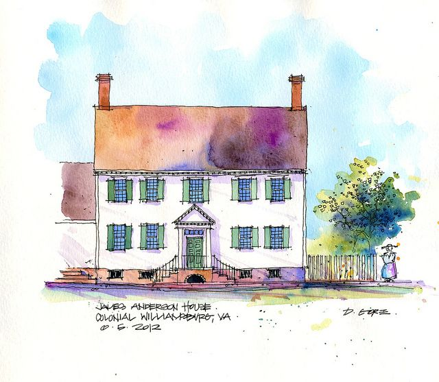 Don Gore James Anderson House  House in Colonial Williamsburg, VA.   Pen, ink & watercolor.