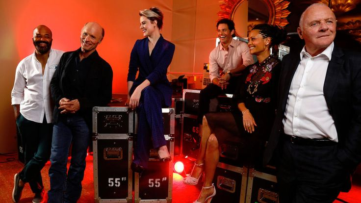 """'Westworld' cast: Actors Jeffrey Wright, from left, Ed Harris, Evan Rachel Wood, James Marsden, Thandie Newton and Anthony Hopkins make up some of the cast of HBO's new series, """"Westworld."""""""