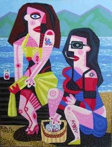 "BEACH GIRLS|24""x18""|acrylic on canvas by Mico www.micoart.com"