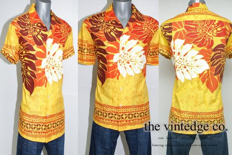 Vintage Clothing - Mens - 50s 60s Orange Hawaiian Mod Rockabilly Shirt | Vintage, Retro & Modern For Men, Women and Home by The Vintedge Co