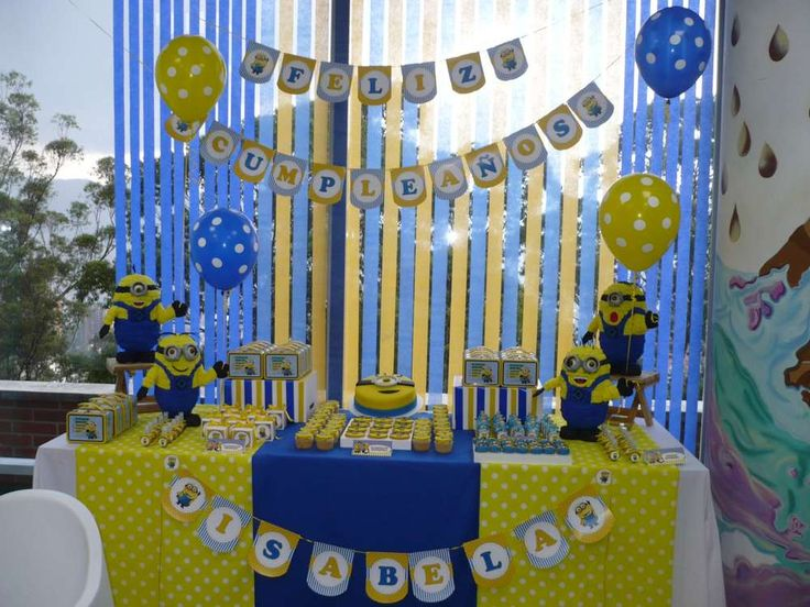 Despicable Me birthday party dessert table!  See more party planning ideas at CatchMyParty.com!