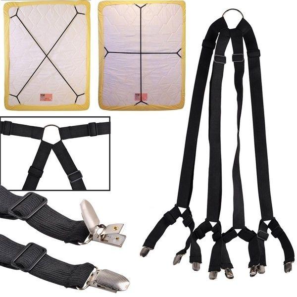 Portable 1 Set Gripper Holder Fastener Clips Clippers Kit Crisscross Adjustable Bed Fitted Sheet Straps Suspenders Adjustable Beds Fitted Bed Sheets Black Bed Sheets