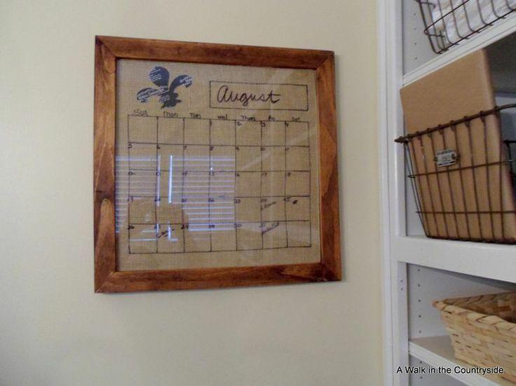 DIY Burlap Dry Erase Calendar: Burlap, Diy'S, Calendar Board, Dry Erase Calendar, Diy Dry, Craft Ideas