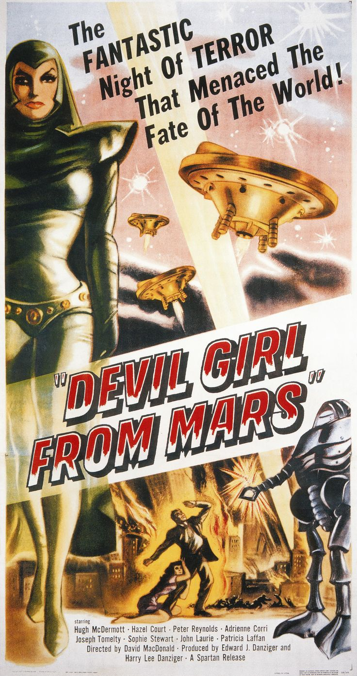 While the mini-skirt is often considered to be an invention of the 1960's it actually appeared earlier in science fiction films of the 1950's. Mini skirts were worn as costume in The Devil Girl From Mars, Forbidden Planet and Flight To Mars.