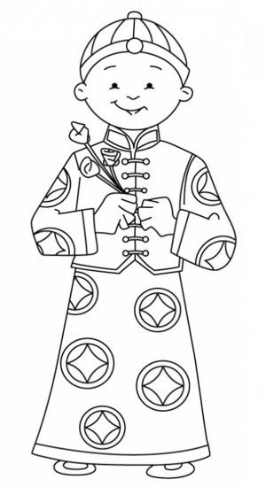 A Young Boy Holding Flowers Say Happy Chinese New Year Coloring Page - Free & Printable Coloring Pages For Kids   Color Kiddo