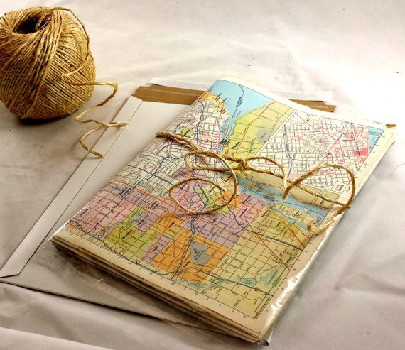 Vintage Map Wrapping Paper. 10 Sheets of 15x10.5