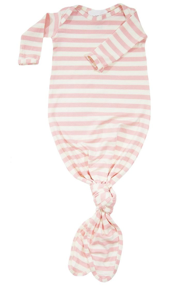 Knotted Baby Gown In Blush And Natural Stripe With New border=