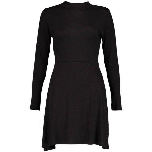 Boohoo Penny Turtleneck Skater Dress   Boohoo (19 CAD) ❤ liked on Polyvore featuring dresses, polo neck dress, boohoo dresses, turtleneck top, skater dress and turtleneck dress