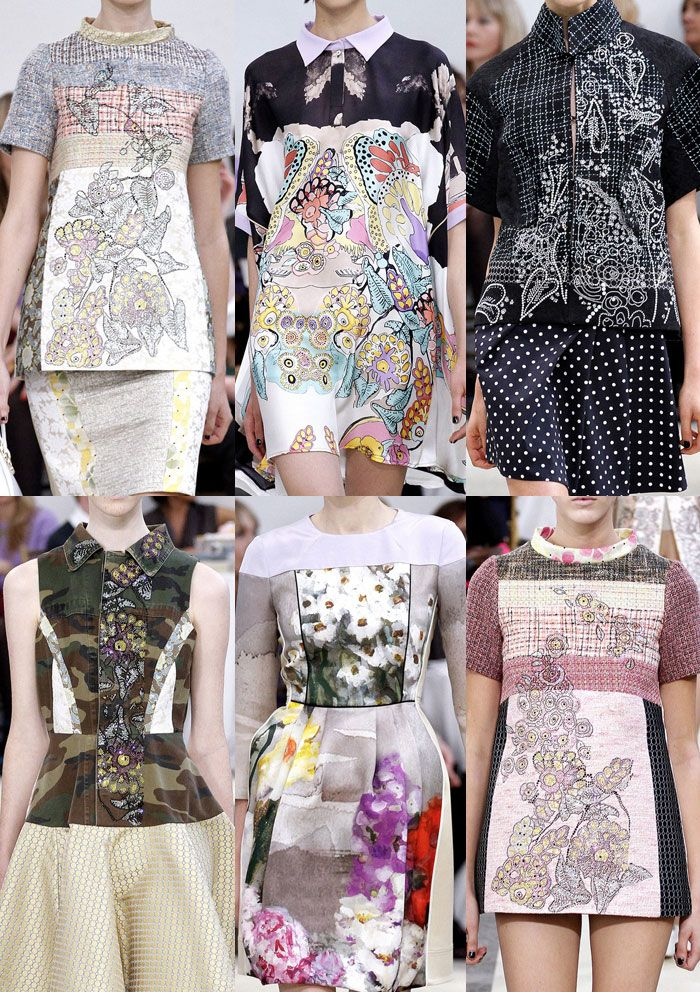 Milan Fashion Week   Spring/Summer 2013   Print Trend Highlights   Part 1 catwalks: Hands Paintings, Trends Highlights, Prints Trends, Floral Artworks, 2013 Prints, Fashion Prints, Floral Work, Milan Fashion Week, Fabrics Mixed
