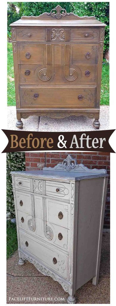 Art Deco Chest of Drawers in Aspen Gray & Black Glaze - Before & After from Facelift Furniture