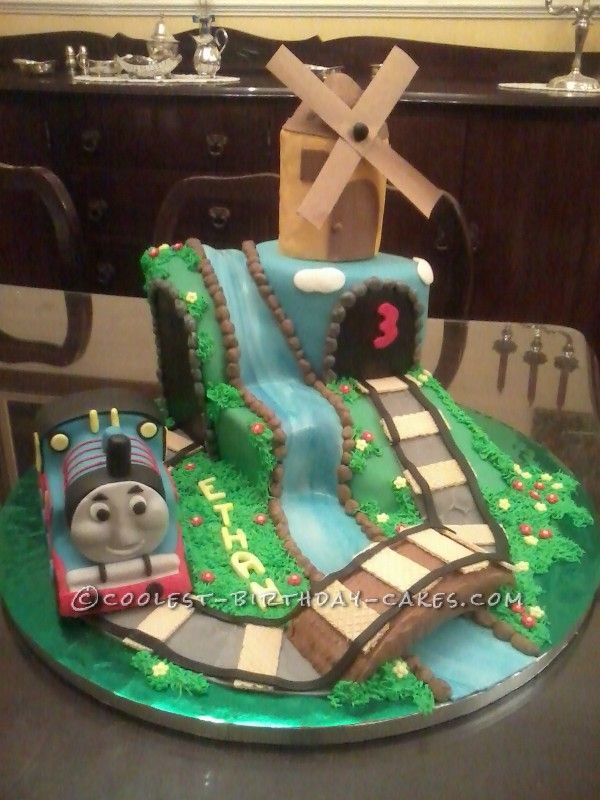 Train And Windmill Cake