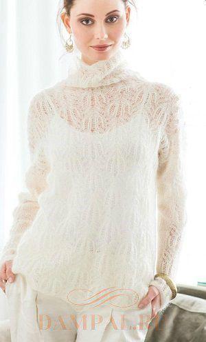 """Невесомыйажурный пуловеримеет воротник фасона «водолазка». Рисунок, которым выполнен пуловер, называется «виноградная лоза». Описание вязания пуловера переведено из журнала """"Vogue Knitting"""". Разме…"""