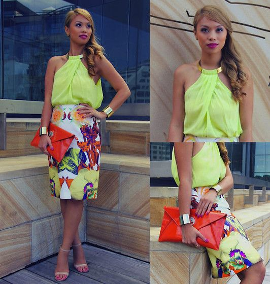 Josh Goot Skirt, Seduce Top, Mimco Clutch