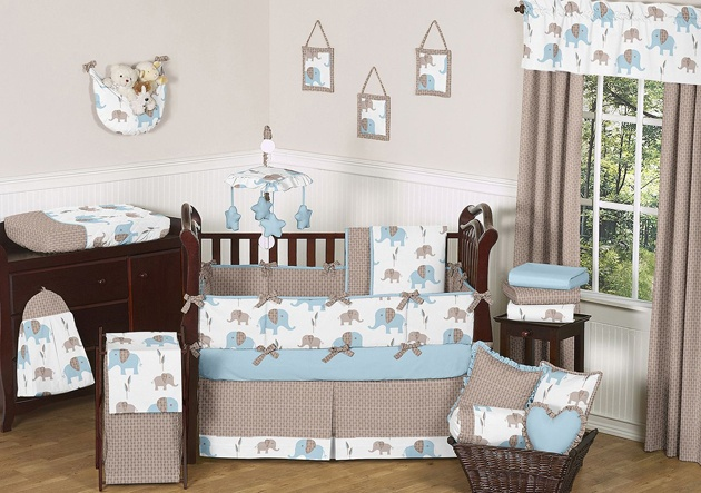 Blue And Brown Elephant Baby Bedding 9p Crib Set For Newborn Boy By Jojo Designs Things I Love Pinterest Nursery Cribs