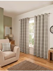 George Home Natural Woven Check Eyelet Curtains
