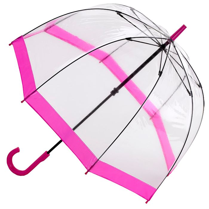 Birdcage Pink Trim - see through PVC dome umbrella - Brolliesgalore