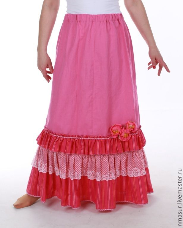 "Льняная Юбка ""Яркая фуксия"" - юбка,юбка в пол,юбка длинная,юбка макси"