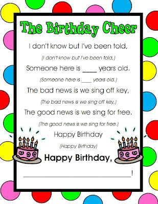 "The Birthday Cheer!...Also, have students work on a page to create a ""Happy Birthday"" book for the birthday student for morning work instead of the traditional assignment that morning.  Since the birthday kid doesn't need to create a page, he/she gets to design the cover of the book!"