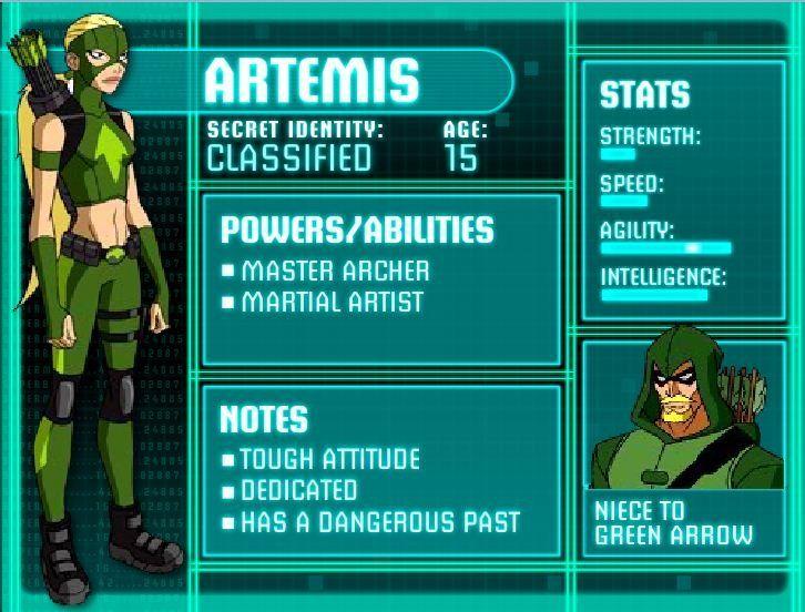 Hi, I'm Artemis. I'm part of a team consisting of Nightwing, Kid-flash, Aqua-lad, Zatanna, Bat-girl,Beast-boy, and Miss Martian.