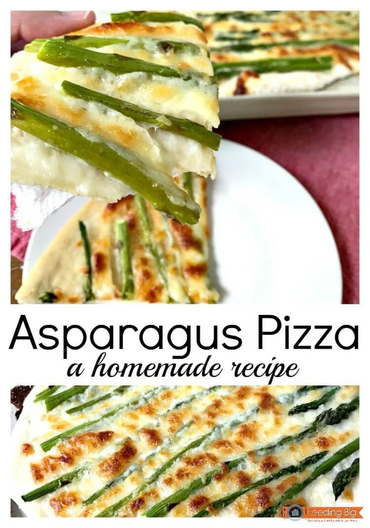 Asparagus pizza, a homemade recipe