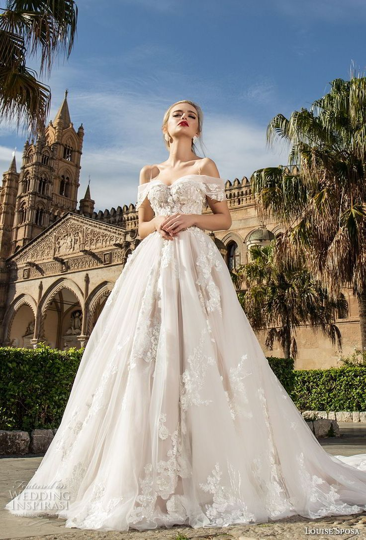 Romantic wedding dress idea – deep wedding dress with V back, lace details and