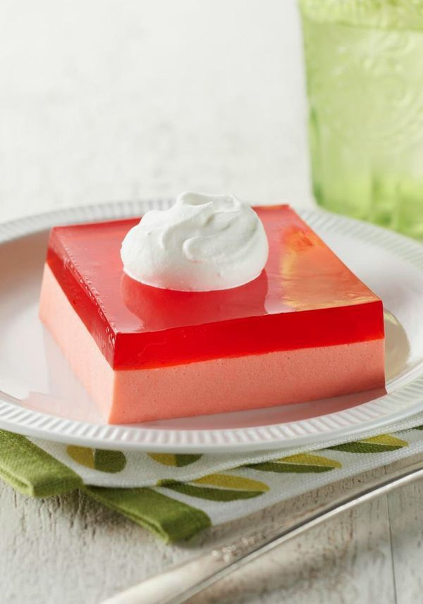 Creamy Layered Squares – Luscious layers of creamy whipped filling, strawberry JELL-O, and airy whipped topping in a dessert that takes just 15 minutes? Yes.