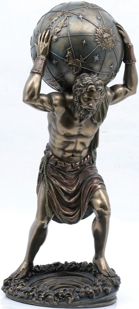 Atlas Holding Globe Statue Figurine from the Greek and Roman Reproduction Art Sculpture Collection available at AllSculptures.com