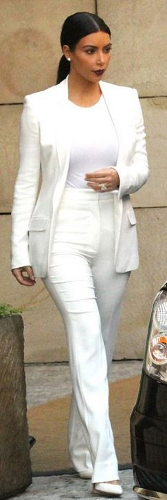 kim kardashian  Who made  Kim Kardashians white pumps, pants suit and bodysuit that she wore on May 31, 2014?