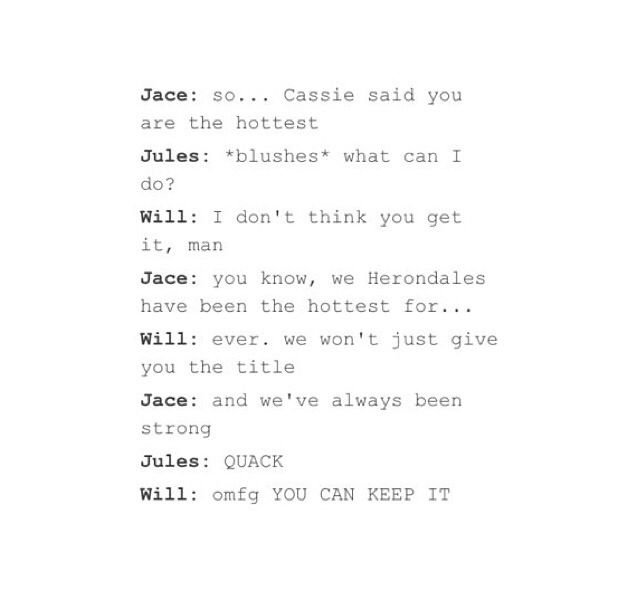I can't even ||| BRILLIANT! And no one can replace Will and Jace. I mean I know, but like will we as a fandom, will our ovaries be able to handle this??? Lol