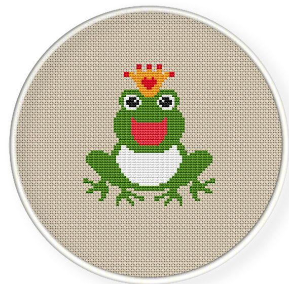 Buy 4 get 1 free ,Buy 6 get 2 free,Cross stitch pattern, Cross-Stitch PDF,frog king,zxxc0250. $4.00, via Etsy.