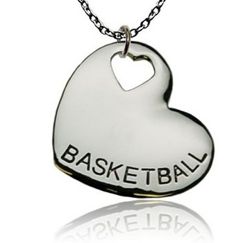 BASKETBALL Heart Necklace by First String Jewelry
