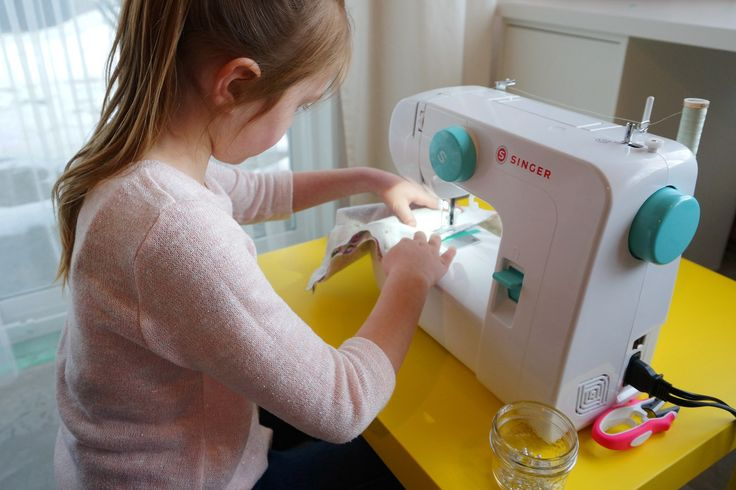 Machine Sewing with Kids, free printable worksheets too!! // Hello Clover