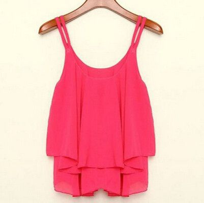 Clothing Bilayer Sleeveless Shirt Chiffon Loose Vest Tank Tops Blouse Women Crop Tops