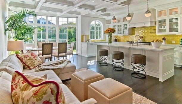 Like the layout: Kitchens Window, Backsplash, Back Splash, Subway Tile, House, Bar Stools, Yellow Tile, San Francisco, Sit Area