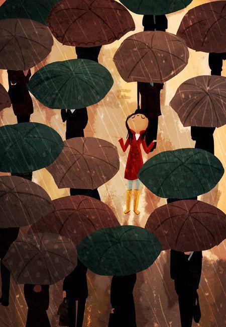 In the City in the rain - Umbrella Rainy Art Print by / Nidhi Channani.: Rain Coats, Illustrations Art, Inspiration, Rainy Day, Red Hair, The Bays, Nidhi Chanani, Art Prints, Painting